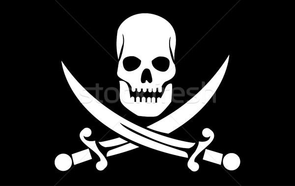 Vector schedel botten vlag zwarte dode Stockfoto © nezezon