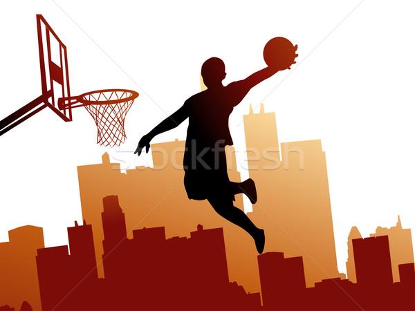 Kosárlabdázó terv férfiak ugrás labda sziluett Stock fotó © nezezon