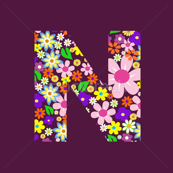 Stock photo: Letter of beautiful flowers N
