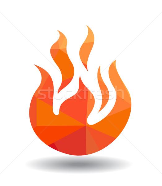 Rosso fuoco icona isolato bianco luce Foto d'archivio © nezezon