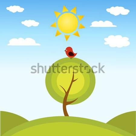 Illustrazione albero uccello foglia estate verde Foto d'archivio © nezezon