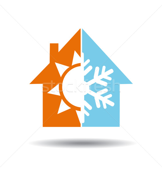 Air conditioning symbol - warm and cold in home Stock photo © nezezon