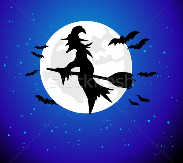 Halloween strega battenti luna sfondo stelle Foto d'archivio © nezezon