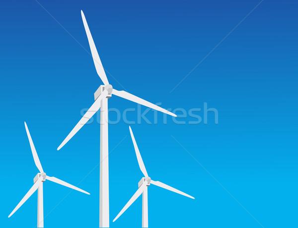 vector wind turbines Stock photo © nezezon