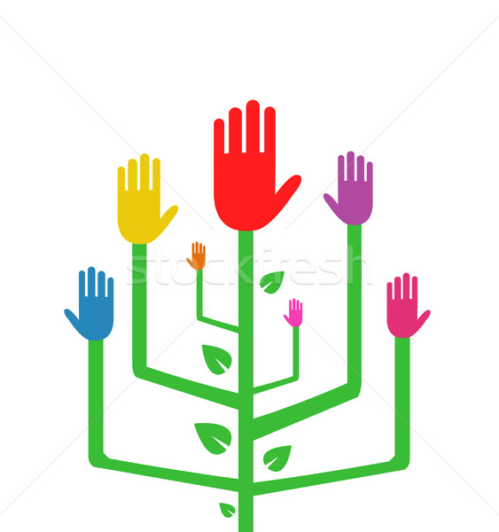 Vector Illustration of an Abstract Tree with Colorful Hands Stock photo © nezezon