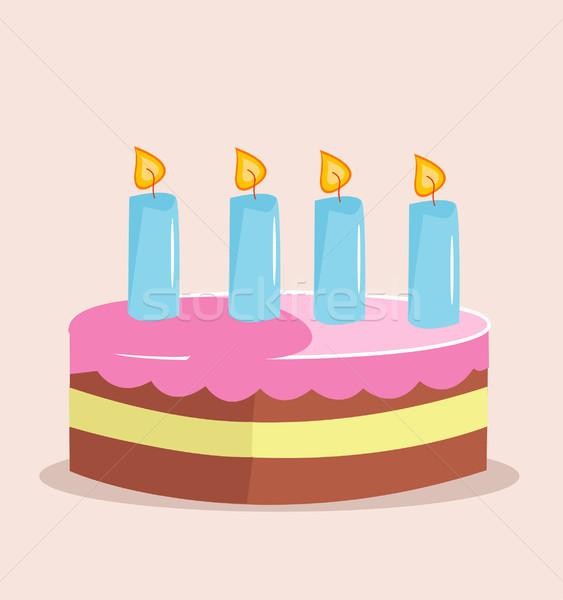 Gâteau d'anniversaire sweet gâteau anniversaire vacances fête Photo stock © nezezon