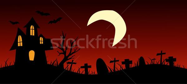 Halloween natuur achtergrond bomen zwarte donkere Stockfoto © nezezon