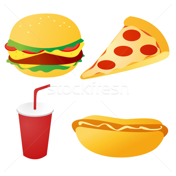 fast food set vector Stock photo © nezezon
