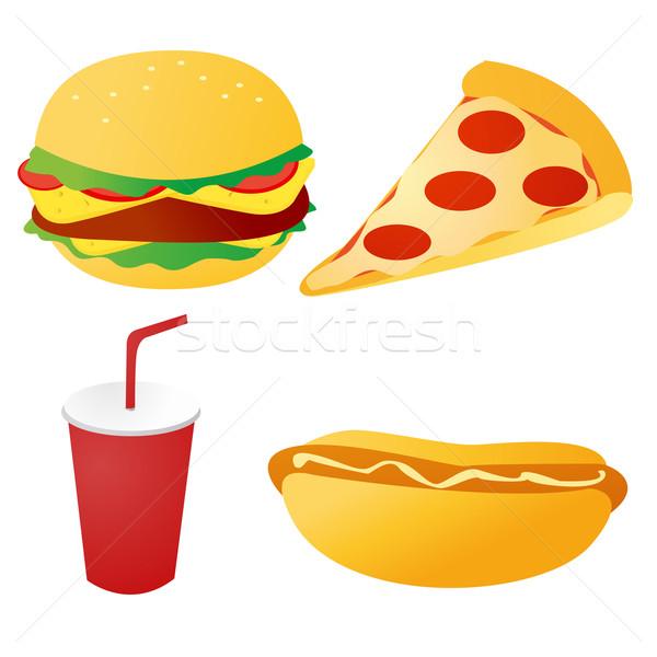 Fast-food ayarlamak vektör gıda restoran sandviç Stok fotoğraf © nezezon