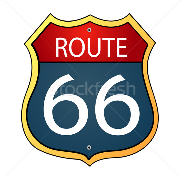 Glossy route sixty six icon Stock photo © nezezon