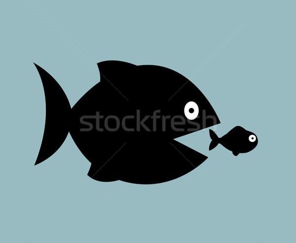 Grande peixe comer pequeno mar natação Foto stock © nezezon