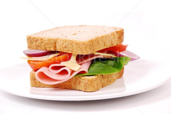 Сток-фото: здорового · ветчиной · сэндвич · сыра · помидоров · белый