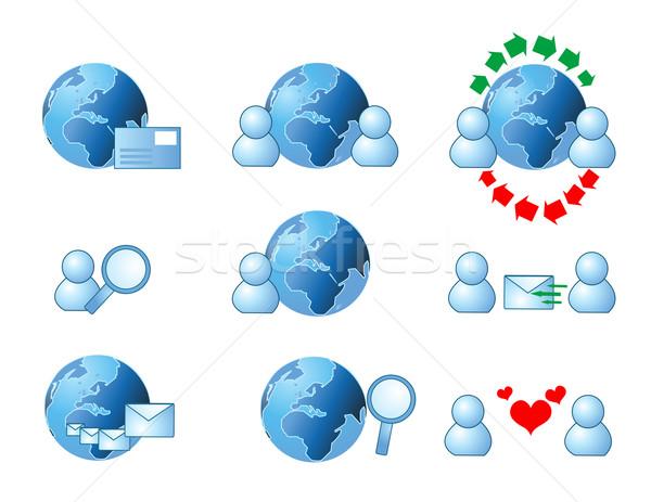 Web Internet ikon bilgisayar aile sevmek Stok fotoğraf © nezezon