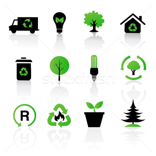 ベクトル セット 環境の リサイクル アイコン ツリー ストックフォト © nezezon