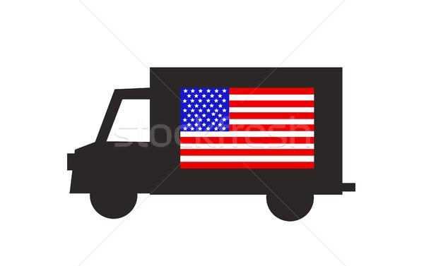 Camion de livraison icône drapeau américain route fond camion Photo stock © nezezon