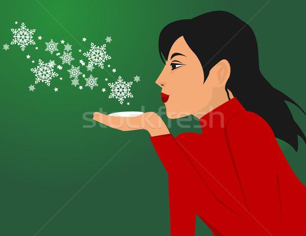 Ragazza fiocchi di neve mano faccia capelli sfondo Foto d'archivio © nezezon
