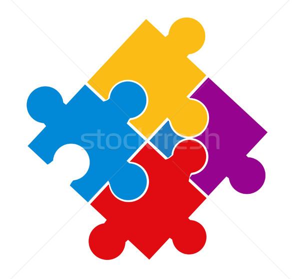 Vector illustration of puzzle pieces  Stock photo © nezezon