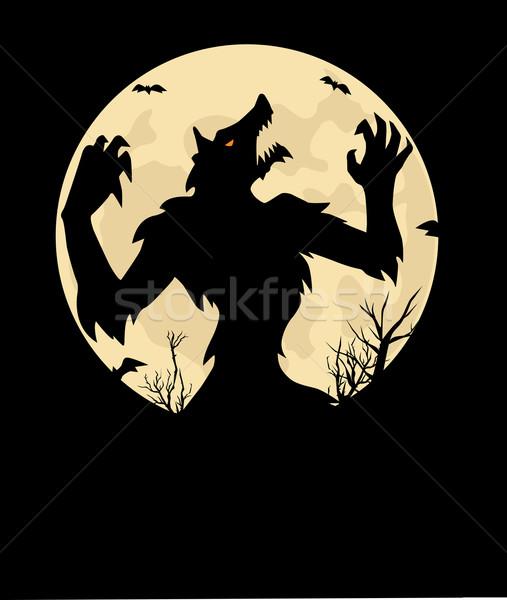 ストックフォト: 狼 · 光 · 月 · 芸術 · 動物 · 影