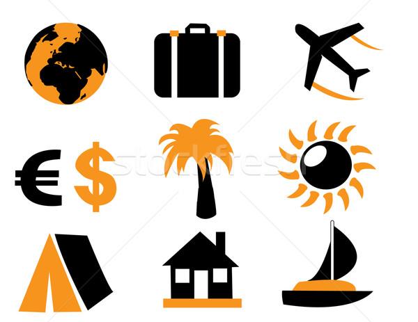 Seyahat simgeler vektör dünya palmiye renk Stok fotoğraf © nezezon