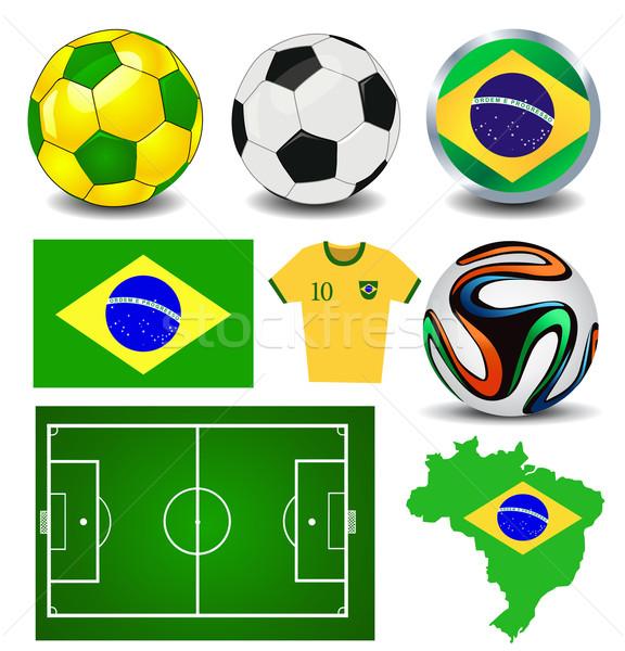 Brasil futebol campeonato esportes futebol camisas Foto stock © nezezon