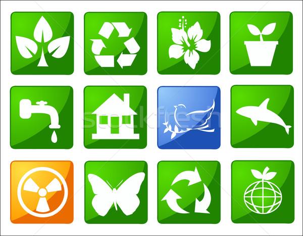 Environnement conservation symboles monde feuille signe Photo stock © nezezon