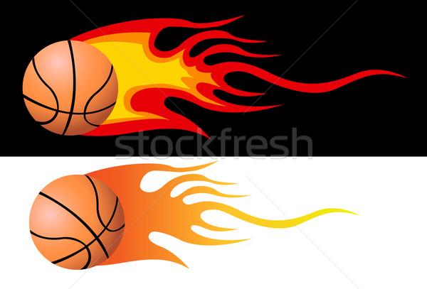 Сток-фото: вектора · пылающий · баскетбол · искусства · весело · осуществлять
