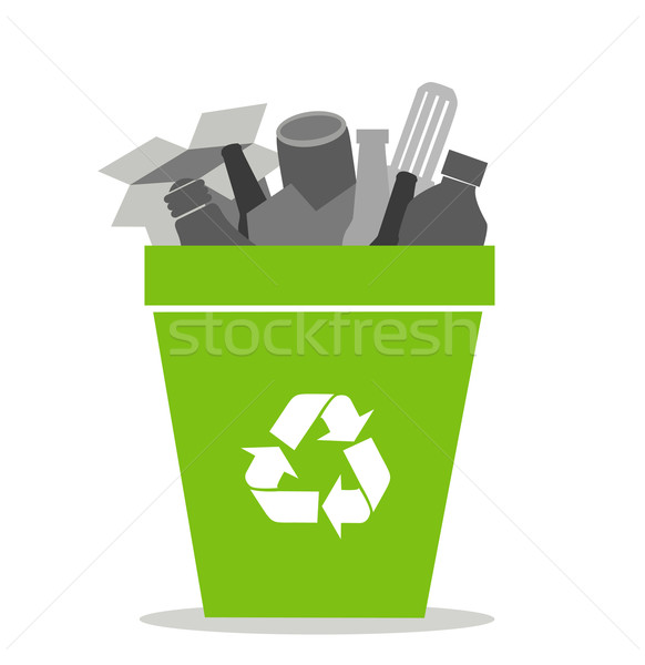 Green recycling bin Stock photo © nezezon