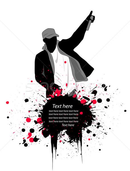 Rapper buli férfi diszkó sziluett zenekar Stock fotó © nezezon