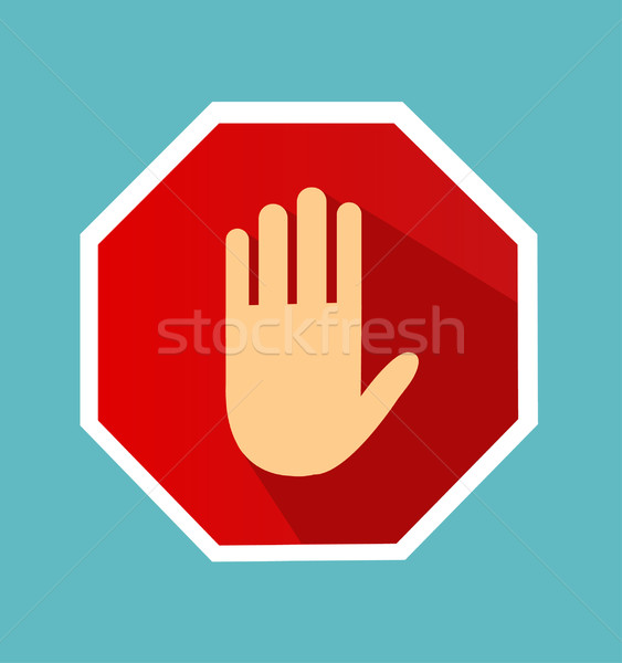 No entry hand sign with long shadow in flat style. Stock photo © nezezon