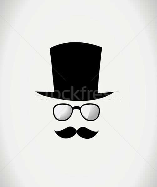 Hat, glasses and mustache. Vector illustration Stock photo © nezezon