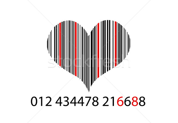 Bar-code on white with herat Stock photo © nezezon