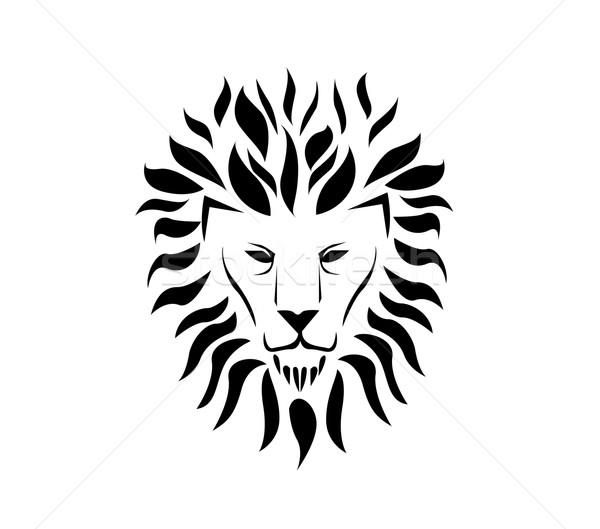 Lion face logo Stock photo © nezezon
