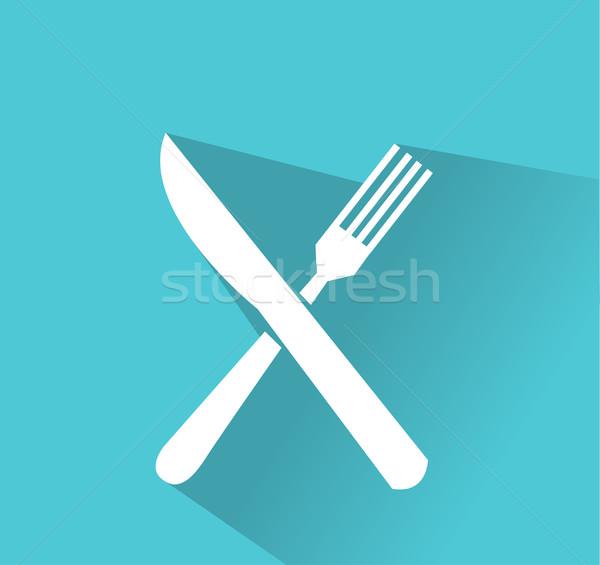Forcella coltello vettore icona metal ristorante Foto d'archivio © nezezon