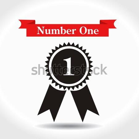 Adjudicación icono aislado blanco tarjeta cinta Foto stock © nezezon