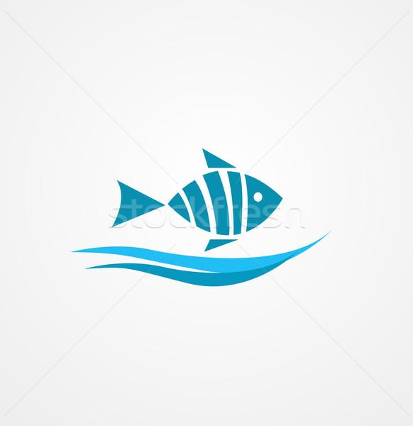 Pesce simbolo alimentare sfondo shop silhouette Foto d'archivio © nezezon