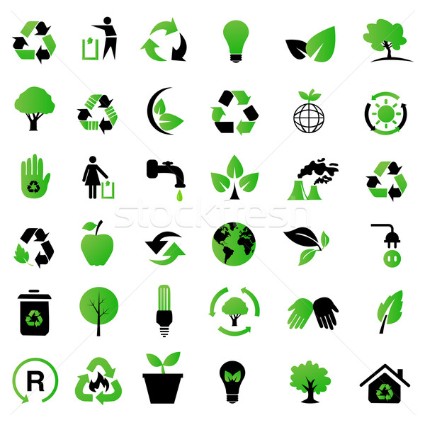 Vektor Set Umwelt Recycling Symbole Baum Stock foto © nezezon