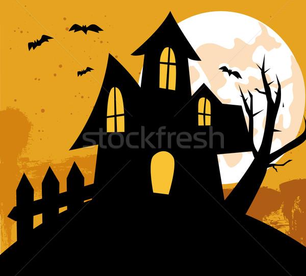 Photo stock: Halloween · maison · fenêtre · orange · fumée · oiseau