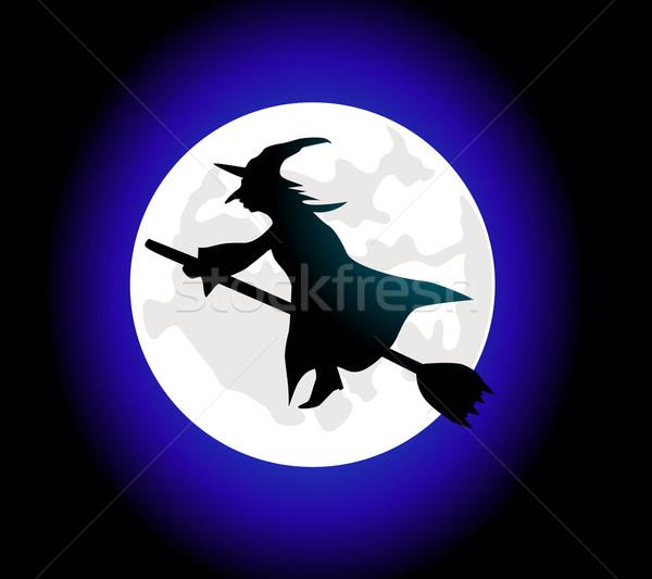 Desenho animado bruxa voador cabo de vassoura escuro cartaz Foto stock © nezezon