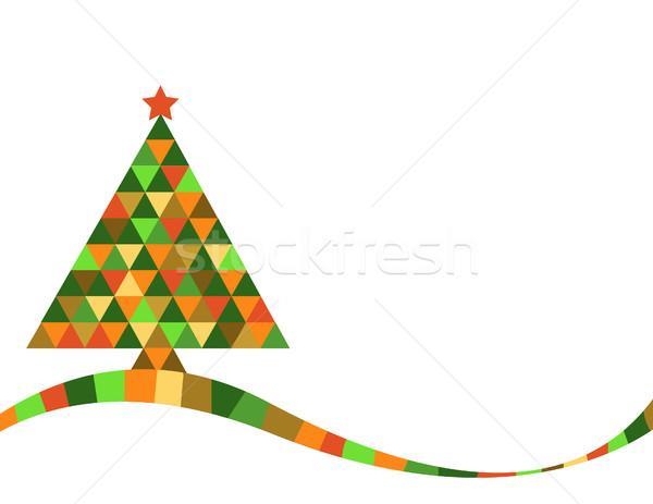 クリスマスツリー 虹色 フレーム 芸術 緑 冬 ストックフォト © nezezon