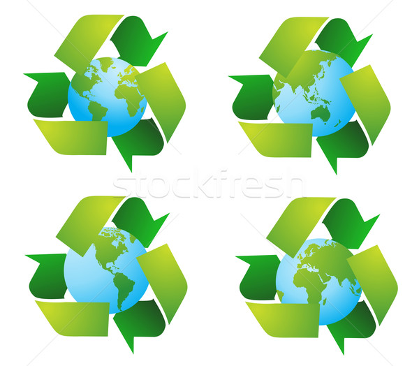 World globe with recycle signs vector Stock photo © nezezon