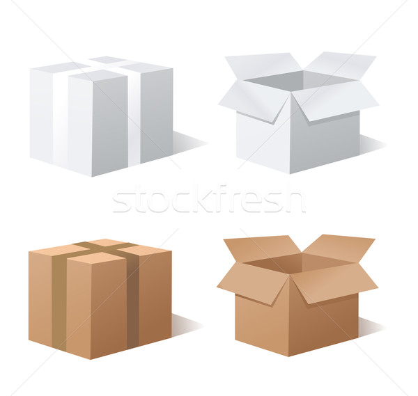 Collection recycle brown box packaging Stock photo © nezezon