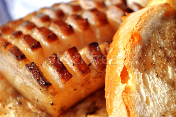 Bacon cut with bread Stock photo © nezezon