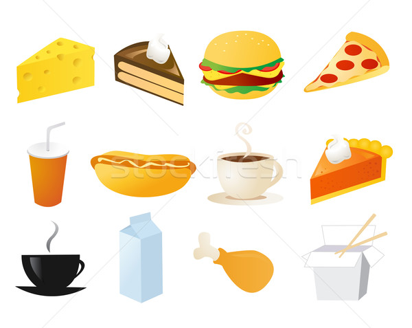 set of food vector icons Stock photo © nezezon