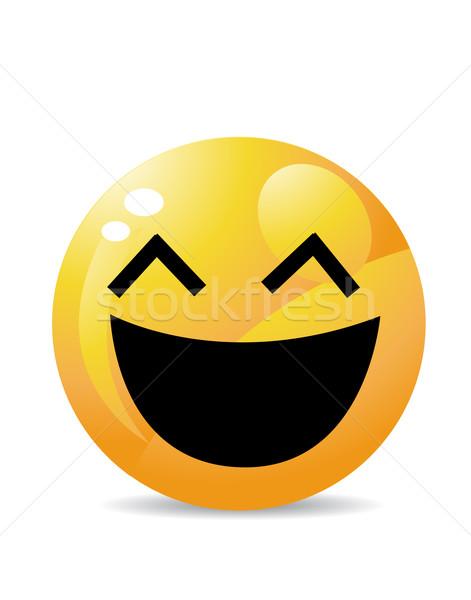 Citromsárga emotikon rajzfilmfigura mosoly arc boldog Stock fotó © nezezon