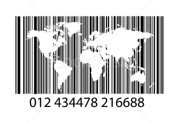 Bar-code on white with world map Stock photo © nezezon