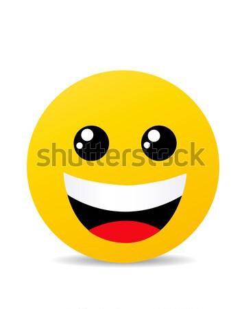 Amarelo emoticon cara feliz teia Foto stock © nezezon
