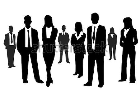 Gens d'affaires femmes carte affaires hommes groupe Photo stock © nezezon