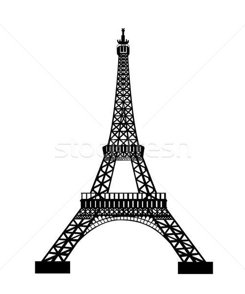 Eiffel Tower Black Silhouette Vector Illustration Stock photo © nezezon