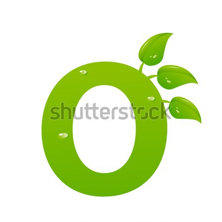 Green eco letter O vector illiustration Stock photo © nezezon