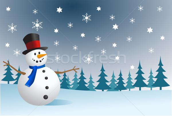 雪だるま 空 雪 氷 絵画 クリスマス ストックフォト © nezezon